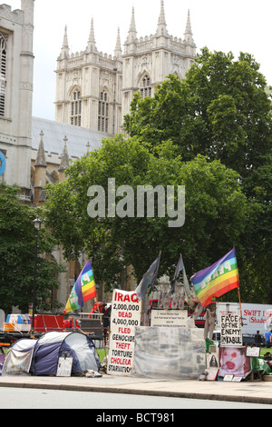The anti Iraq war peace protest camp in Parliament Square, Westminster, England, U.K. - Stock Photo