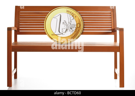 Euro coin on a wooden bench, composing - Stock Photo