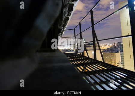 Fire escape at night Monadnock Building in Chicago - Stock Photo