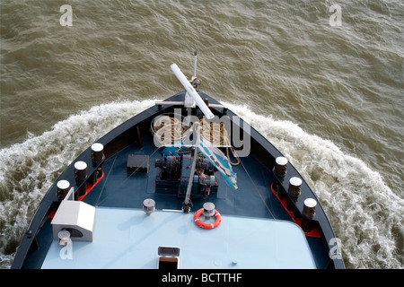 barge on the Rhine, Duisburg, Germany - Stock Photo