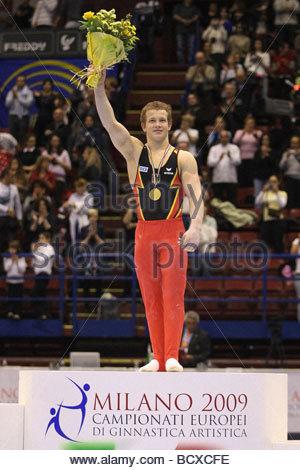 fabian hambuechen, milano 2009, europeanartisticgymnasticchampionships - Stock Photo