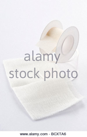 sticking plasters and bandages - Stock Photo
