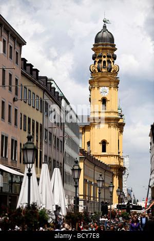 heatiner Church clock and belltower, street lights, Munich, Upper Bavaria, Germany, Europe - Stock Photo