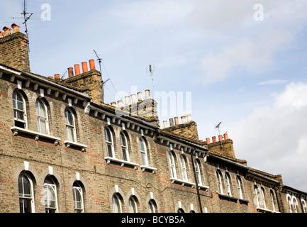 Victorian roof top chimneys - Stock Photo