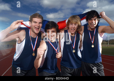 athletes celebrating - Stock Photo