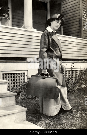 Woman Leaving Home on a Trip - Stock Photo