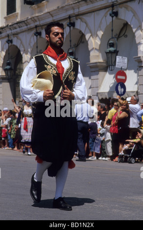 Man in traditional costume during a ceremony on the occasion of the affiliation of the Ionian Islands and Greece, - Stock Photo