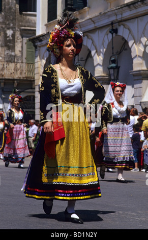 Woman in traditional costume during a ceremony on the occasion of the affiliation of the Ionian Islands and Greece, - Stock Photo