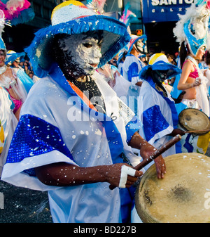Candombe drummers in the  Montevideo annual Carnival - Stock Photo