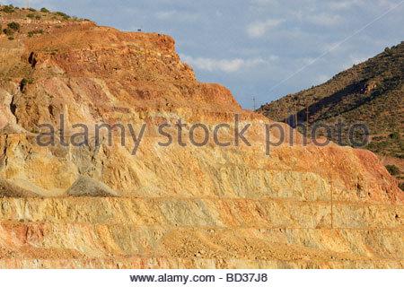 Upper Benches Coronado Pit Morenci Mine Complex Freeport McMoRan Copper & Gold - Stock Photo