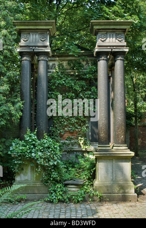 Neo Roman tomb at Jewish Cemetery in Wrocław Lower Silesia region Poland - Stock Photo