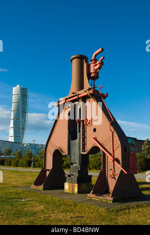 Artwork and Turning Torso building in Västra Hämnen district in Malmö Skåne Sweden Europe - Stock Photo