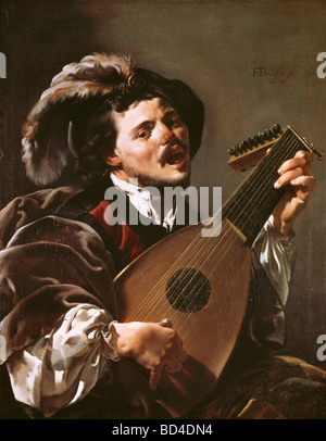 fine arts, Terbrugghen, Hendrick (1588 - 1629), painting, 'Singing Lute Player', oil on canvas, 100.5 cm x 78.7 - Stock Photo