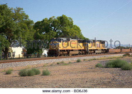 Union Pacific UP locomotives in Willcox Arizona - Stock Photo