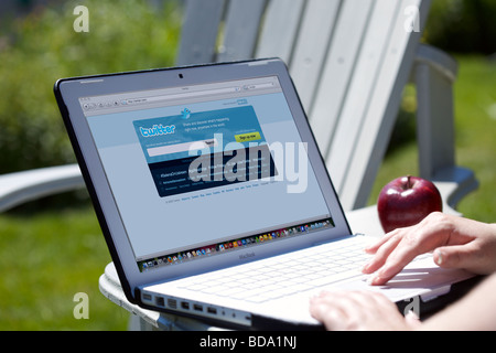 Female using laptop showing social networking Twitter splash screen page - Stock Photo