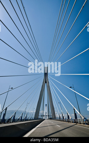 The Rio Antirrio bridge near Patras linking the Peloponnese with mainland Greece accross the Gulf of Korinth - Stock Photo