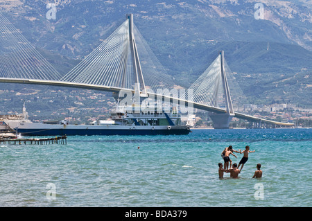 The Rio Antirrio bridge near Patras linking the Peloponnese with mainland Greece across the Gulf of Corinth - Stock Photo