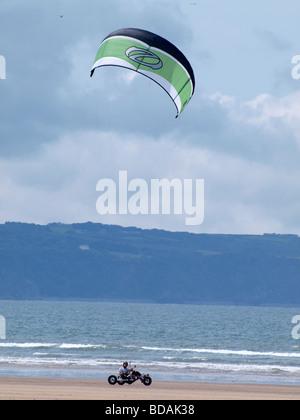 Kite Buggying Westward Ho! Devon - Stock Photo