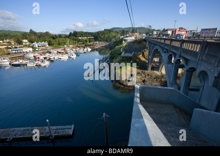 Depoe Bay Oregon is the smallest navigable harbor in the world - Stock Photo