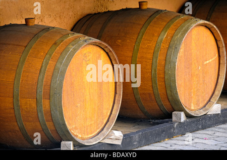 White wine barrels, Eguisheim, Haut Rhin, Alsace, France - Stock Photo