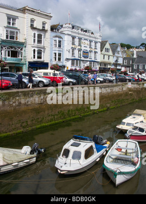 View of The Quay across the inner harbour including the Royal Castle Hotel Dartmouth Devon UK - Stock Photo