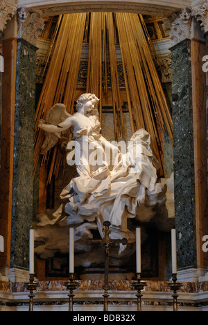 Rome Italy Bernini's sculpture of The Ecstasy of St Teresa in the Cornaro Chapel in the church of Santa Maria della - Stock Photo