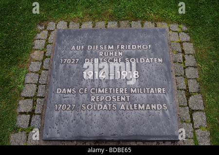 memorial plaque in Fricourt german cemetery at Fricourt on The Somme - Stock Photo