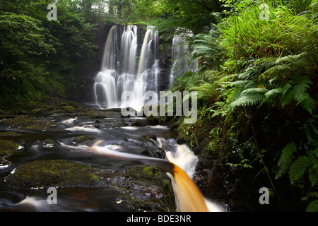 ess-na-crub waterfall on the inver river in glenariff forest park county antrim northern ireland uk - Stock Photo