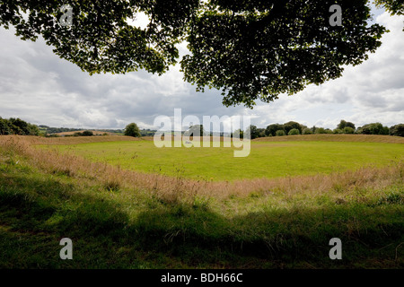 earthwork and dolmen, Giant's Ring, Lagan valley, Belfast, Northern Ireland - Stock Photo