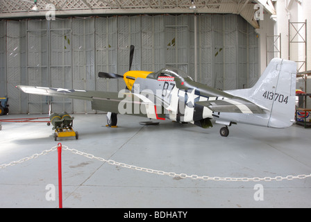 Rear and angled aspect of North American P-51D Mustang aircraft,this particular  aircraft being named Ferocious - Stock Photo