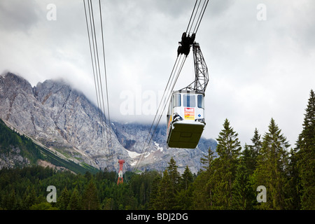Cable car to Zugspitze the highest mountain in Germany Europe - Stock Photo