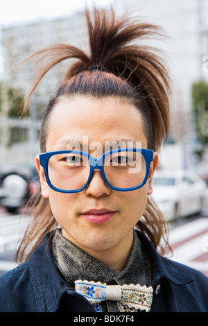 Portrait of a young person in Harajuku, Tokyo, Japan - Stock Photo