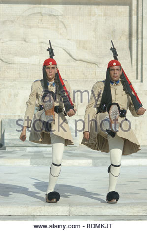 Tomb Of The Unknown Soldier GREEK Parliament SOLDIERS ICONIC Athens Greece traditional costume costumes uniform - Stock Photo