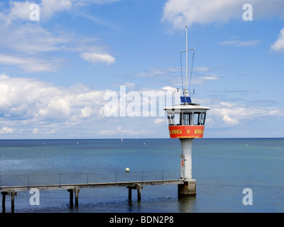 Post of the DLRG life guards on the beach of Travemuende, Schleswig-Holstein, Germany, Europe - Stock Photo