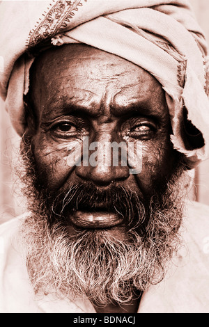 Portrait of a one-eyed man in Harar, Ethiopia - Stock Photo