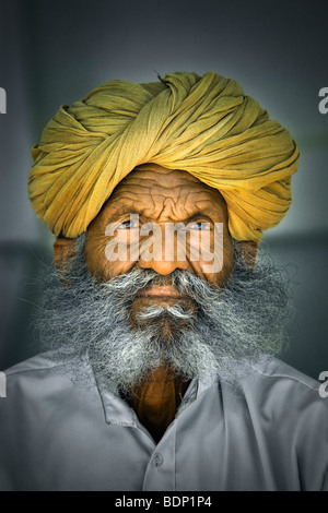 India, Rajasthan, Jodhpur, older Rajasthani Indian man with bushy gray beard wearing yellow turban - Stock Photo