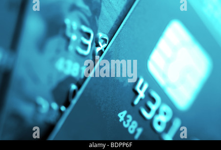 Credit cards macro Small deep of focus. - Stock Photo