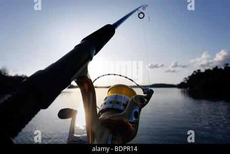 fishing in a lake - Stock Photo