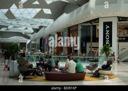 Shops and shoppers inside the Westfield Centre White City, Shepherds Bush West London - Stock Photo