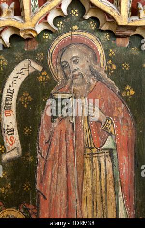Norfolk, East Ruston, Saint Marys redundant church, medieval carved rood screen St Mark panel - Stock Photo