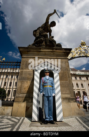 Guard at the entrance of the Castle in Prague, Czech Republic. - Stock Photo