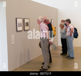 People looking at pictures as part of an exhibition at the Yorkshire Sculpture Park, West Bretton Wakefield Yorkshire - Stock Photo
