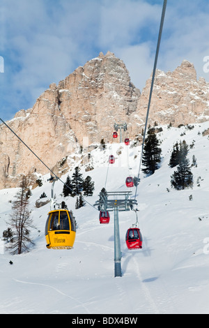 Sella Ronda ski area, Gondola lift, Val Gardena, Sella Massif range,  Dolomites, South Tirol, Trentino Alto-Adige, - Stock Photo