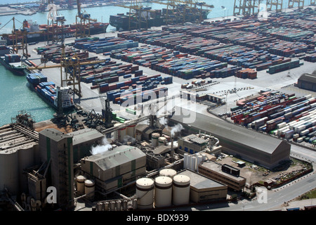 Ariel View of the Port of Barcelona - Stock Photo