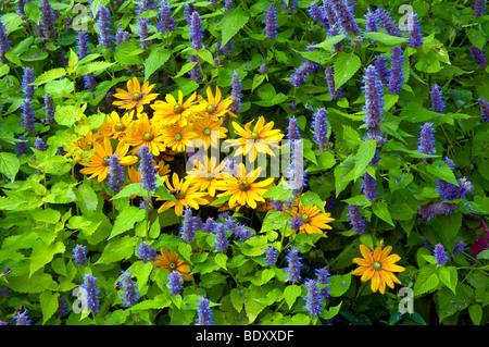 Flower beds, garden paths and flower arrangements at the English Gardens in the Assiniboine Park in Winnipeg, Manitoba, - Stock Photo