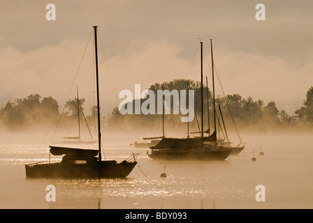 Sailing boats and fog at the southern end of Ammersee lake in Diessen, Bavaria, Germany, Europe - Stock Photo
