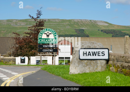 Sign for the Wensleydale Creamery, in Hawes, Wensleydale, Yorkshire Dales National Park, North Yorkshire, England - Stock Photo