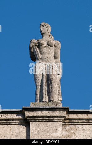 Bonn University main building, female statue located on the front side facing the city, North Rhine-Westphalia, - Stock Photo