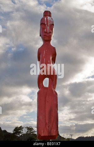 Maori totem pole, one of a group in a field in the village of Waitangi, Bay of Islands, New Zealand - Stock Photo