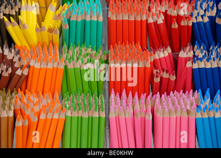 Assortment of coloured pencils, various colors - Stock Photo